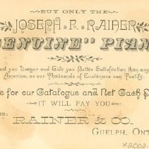 Image of Rainer & Co. Ad Card-Back
