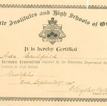 Image of Certificate for A. Caulfield