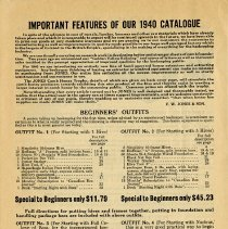 Image of Important Features of the 1940 Catalogue, page 1