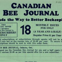 Image of Canadian Bee Journal Order Form, reverse side