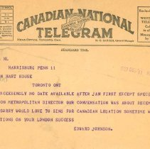 Image of Telegram from Edward Johnson