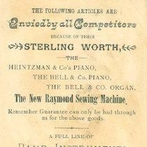 Image of Raymond Ad Card, Back