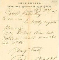 Image of J. M. Bond Letter, 1875