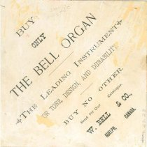 Image of Bell Organ Trade Card, Back