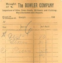 Image of Dowler Company Receipt