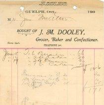 Image of J. M. Dooley Receipt