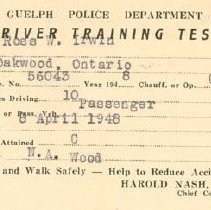 Image of Driver Training Test Card