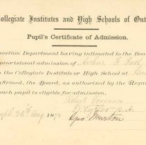 Image of Entrance Exam Certificate
