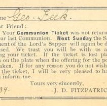 Image of Communion Ticket for Geo. Feek