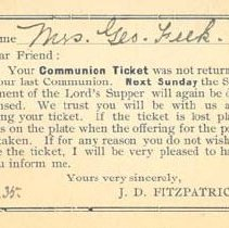 Image of Communion Ticket, Mrs. Feek