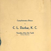 Image of Program for C.L. Dunbar Dinner