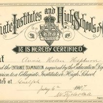 Image of Entrance Exam Certificate,1907