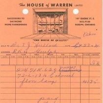 Image of Invoice, House of Warren