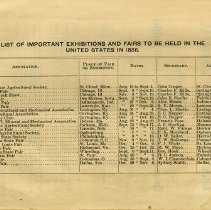 Image of Exhibitions and Fairs to be held in the United States in 1886