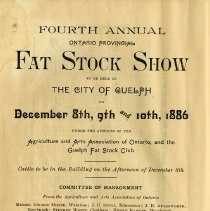 Image of Advertisement for Ontario Provincial Fat Stock Show, Guelph 1886