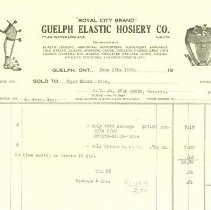 Image of Guelph Elastic Hosiery Invoice