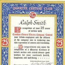 Image of Ralph Smith Certificate,1980