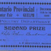 Image of Ontario Provincial Winter Fair Second Prize Card