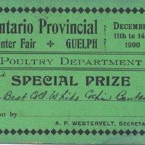 Image of Ontario Provincial Winter Fair Special Prize Card