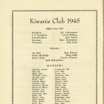 Image of Kiwanis Club Members, Officers for 1945, p.38