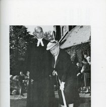 Image of Rev. Kenneth G. McMillan & Miss Effie Smith Turning Sod, 1955