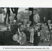 Image of St. Andrew's Church School Children Releasing Balloons, 1978