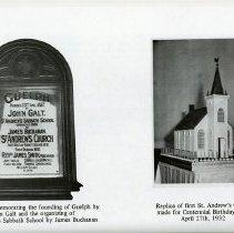 Image of St. Andrew's Church Plaque; Church's Centennial Birthday Cake, 1932
