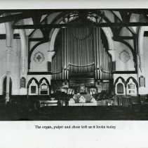 Image of Organ, pulpit and choir loft in 1978