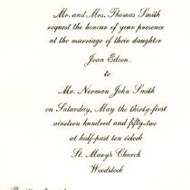 Image of Smith Wedding Invite 5/31/52
