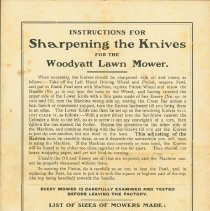 Image of The Woodyatt Lawn Mower Instruction Manual - Back