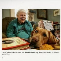 Image of Guelph Author, Jean Little, with her dog, Honey, page 38