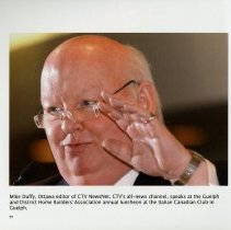 Image of Mike Duffy speaking at the Italian Canadian Club in Guelph