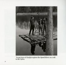 Image of Young Boys on a raft on the Speed River in the 1960s