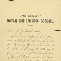 Image of Guelph Norway Iron and Steel Company Letter