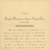 Image of Guelph Workman's Opera House Company Letter