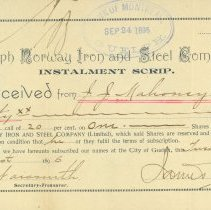 Image of Guelph Norway Iron and Steel Company Receipt
