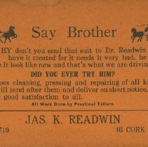 Image of Readwin's Clothes Advertisement Card