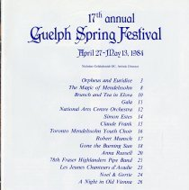 Image of 1984 Guelph Spring Festival Table of Contents