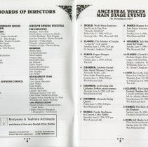 Image of Board of Directors; Calendar of Main Stage Events, pp.4-5