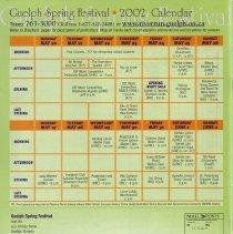 Image of Guelph Spring Festival 2002 Calendar, back cover