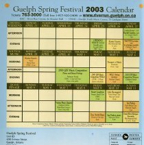 Image of Guelph Spring Festival 2003 Calendar of Events, back cover