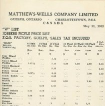 Image of Matthew Wells Price List - Page 1