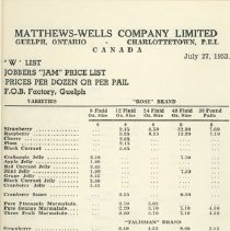 Image of Matthew Wells Price List - Page 3