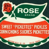 "Image of Matthew-Wells Sweet ""Pickettes"" Pickles Label"