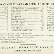 Image of Imperial Biscuit Company Price List