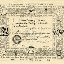Image of A certificate commemorating a member of the Grand Lodge of Ontario Independ