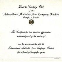 Image of Quarter Century Club Certificate