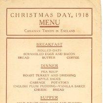 Image of 1918 Christmas Menu