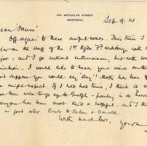 Image of Letter from John McCrae 1914