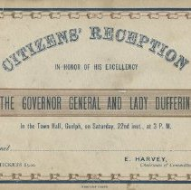 Image of Ticket to the Citizen's Reception at Guelph City Hall